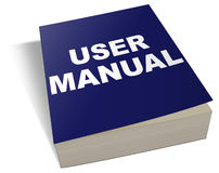 User manual. An illustration of a generic blue user manual stock illustration