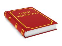User manual. Red book on white background. Isolated 3d illustrat. Ion Stock Image