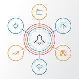 User Outline Icons Set. Collection Of Alarm, Upload, Find And Other Elements. Also Includes Symbols Such As Storage. User Outline Icons Set. Collection Of Alarm Stock Images