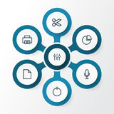 User Outline Icons Set. Collection Of Cut, Audio, Power On And Other Elements. Also Includes Symbols Such As Power. User Outline Icons Set. Collection Of Cut Royalty Free Stock Image