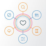 User Outline Icons Set. Collection Of Search, Privacy, Hourglass And Other Elements. Also Includes Symbols Such As Heart Royalty Free Stock Photography