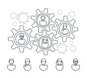 User profile line icons. And people gears interaction structure. Vector illustration Stock Image