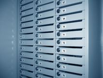 User's boxes in bank. Storage of mail and documents royalty free stock photo