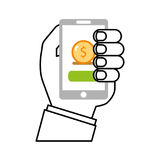 User smartphone with banking app Royalty Free Stock Photography