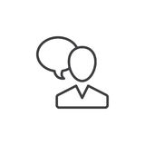 User and speech bubble, person talking line icon, outline vector sign, linear style pictogram isolated on white. Royalty Free Stock Photo