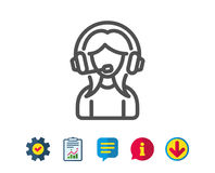 User Support line icon. Female Profile sign. Royalty Free Stock Images