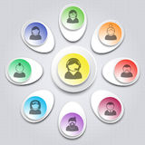 User support. Set of infographic elements with users icons. Desi Royalty Free Stock Image