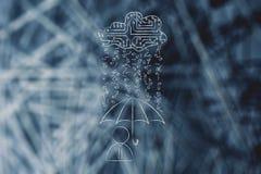 User with umbrella under binary code rain, data breach protectio Royalty Free Stock Photos