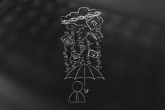 User with umbrella under binary code rain, data breach protectio Stock Image