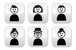 User, young and old people buttons set Royalty Free Stock Images
