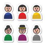 User, young and old people icons set Royalty Free Stock Image