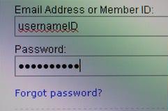 Username-ID och lösenord Arkivbilder