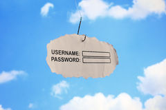 Username login and password phishing. Computer username login and password on paper attached to a hook concept for phishing or internet security Royalty Free Stock Photos