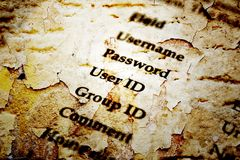 Username and password grunge style. Close up of Username and password grunge style Stock Photography