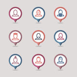 Userpic mapping pins icon Stock Image