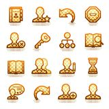 Users contour icons. Brown series. Royalty Free Stock Image