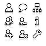 Users contour web icons. Vector web icons, black contour series