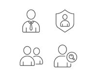 Users Group, Search and Businessman line icons. Stock Image