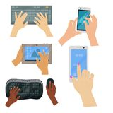 Users hands on keyboard computer touch gestures technology internet work swipe typing tool vector illustration. Electronics editing pad with people hand stock illustration