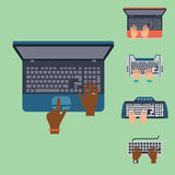 Users hands on keyboard and mouse of computer technology internet work typing tool vector illustration Royalty Free Stock Photo