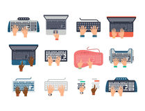 Users hands on keyboard and mouse of computer technology internet work typing tool vector illustration Stock Photo
