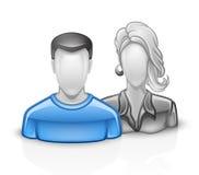 Users icon man woman Stock Photo