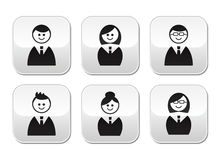 Users icons - glossy buttons set Royalty Free Stock Photography