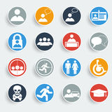 Users icons on gray buttons. Stock Image