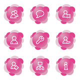Users icons, pink series Stock Photos