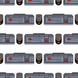 Users keyboard seamless pattern computer technology internet work typing tool vector illustration Stock Image