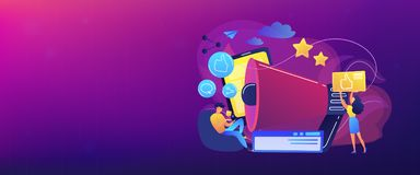 Social networks promotion concept banner header. Users with like and share icons and megaphone. Like comment share giveaway, social networks promotion, like royalty free illustration