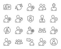Users line icons. Profile, Group and Support. Royalty Free Stock Photos