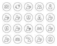 Users line icons. Profile, Group and Support. Royalty Free Stock Photography