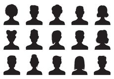 Users silhouette icons. Male and female head silhouettes. Anonymous person heads avatar vector icon set. Users silhouette icons. Male and female head silhouettes royalty free illustration
