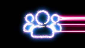 Users symbol reveal. Blue, yellow, pink colors smoothly shimmer and form a neon electric number