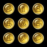 Users web icons. Vector web icons, gold glossy circle buttons series