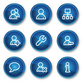 Users web icons, blue circle buttons Stock Image