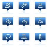 Users web icons, blue speech bubbles series Stock Image