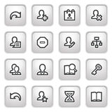 Users web icons on gray buttons. Stock Photography