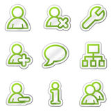 Users web icons, green contour sticker series. Web icons set. Easy to edit, scale and colorize