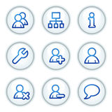 Users web icons, white circle buttons series Stock Photo