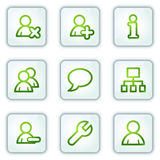 Users web icons, white square buttons series Royalty Free Stock Photography