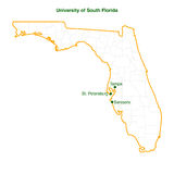 Unversity of south florida 3 campus map vector fil Royalty Free Stock Photos