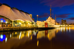 The USGC Taney Coast Guard Cutter at night, in the Inner Harbor Royalty Free Stock Photo