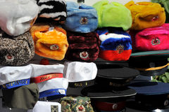 Ushanka de souvenir avec des symboles soviétiques Photos libres de droits