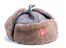 Ushanka fur hat of the Red Army Royalty Free Stock Photography
