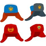 Ushanka hat with the Russian and Soviet symbols Stock Photo