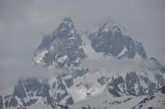 Ushba峰顶在高加索山脉 库存照片