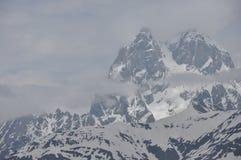 Ushba峰顶在高加索山脉 库存图片