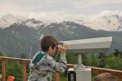 Ushba峰顶在高加索山脉 斯诺伊使用 库存照片